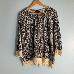 Style&Co. Navy Blue and Cream blouse
